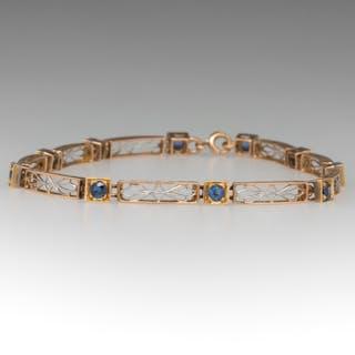 Vintage Blue Sapphire Bracelet 14K Gold