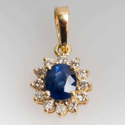 Petite Blue Sapphire & Diamond Slide Pendant 18K