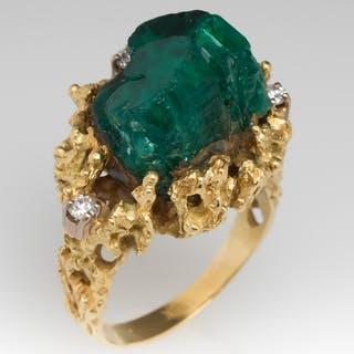 1970's Vintage Created Emerald Crystal & Diamond Ring 14K Gold