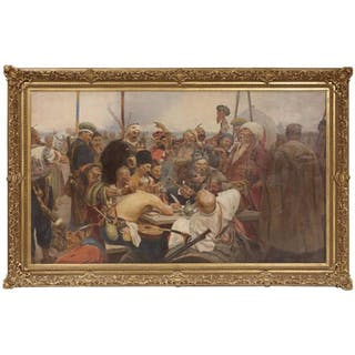Reply of the Zaporozhian Cossacks to Sultan Mehmed IV Painting after Ilya Repin