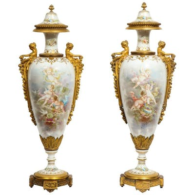 Monumental Pair of French Ormolu-Mounted Sèvres Porcelain Vases and Covers