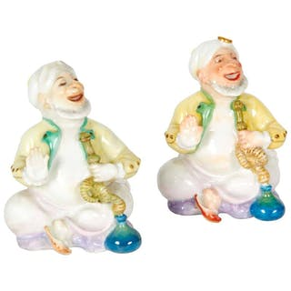 Pair of Miniature Meissen Porcelain Figurines Turks Smoking Hookah