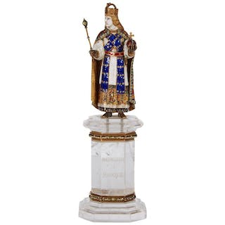 Enamel Gold and Rock Crystal Figure of Emperor Maximilian I by Reinhold Vasters