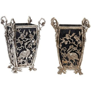 Pair of Rare French Japonisme Silvered Bronze Cachepots or Vases