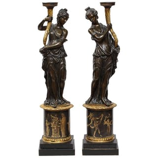 Large Pair of French Gilt and Patinated Bronze Figural Candleholders