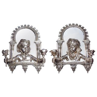 "Pair of French Orientalist ""Alhambra"" Bronze Two-Light Wall Appliqués Sconces"