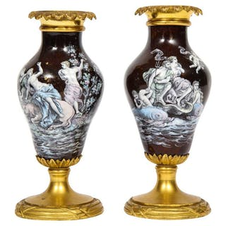 Exquisite Pair of French Bronze-Mounted Limoges Enamel Vases