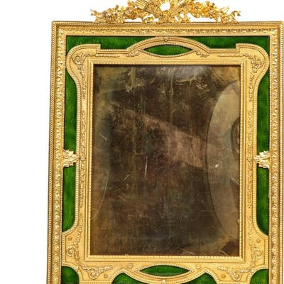 Large French Gilt Bronze Ormolu and Green Guilloche Enamel Picture Photo Frame