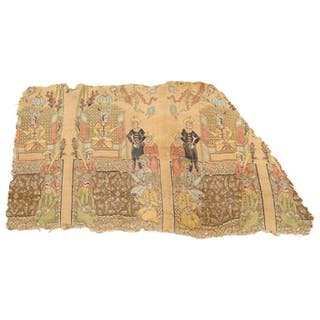 Rare Islamic Persian Safavid Silk Lampas Textile Fragment Safavid Dynasty
