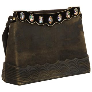 Elegant French Limoges Enamel and Black Suede Purse Handbag, George