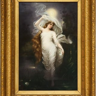 Large and Exceptional Berlin K.P.M Porcelain Plaque of Female Maiden, Dietrich