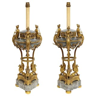 Pair of French Ormolu and Gray Marble Brule Parfums Attributed to Paul Sormani