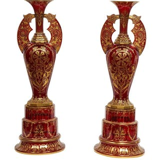 "Monumental Pair of Ruby Red Gilt Bohemian ""Alhambra"" Cut Glass Vases on Stands"
