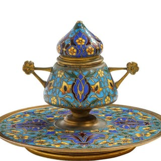 French Bronze and Champleve Enamel Inkwell Encrier by Ferdinand Barbedienne