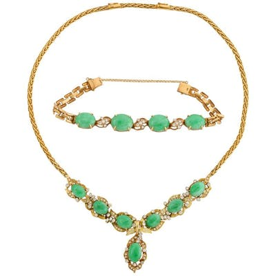 18-Karat Gold, Diamonds, and Chinese Jade Necklace and Bracelet Set