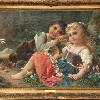 "Hans Zatzka, 'Austrian, 1859-1945' Exceptional Oil on Canvas ""Young Children"""