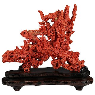 Exceptional Large Chinese Carved Coral Figural Group of a Pine Tree & Scholars