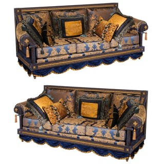 Opulent Pair of French Royal Blue & Gold Silk Damask Three-Cushion