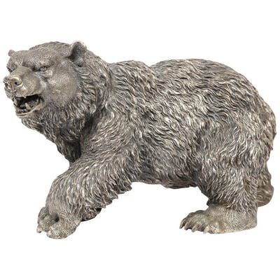A Large Antique French Silvered Figure of Polar Bear, circa 1900
