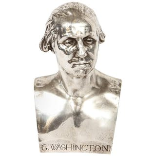 Extremley Rare Silvered Metal Bust of George Washington by F. Barbedienne