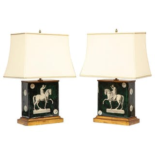 Fantastic Pair of Midcentury Italian Green Molded Glass Lamps, Fornasetti