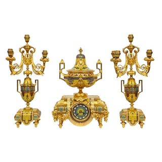 Ferdinand Barbedienne, Musuem Quality French Ormolu Champleve Enamel Clock Set