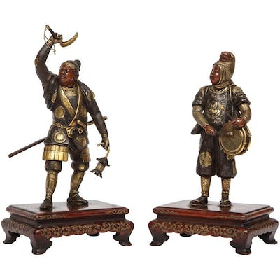 A Very Fine Pair of Japanese Bronze Figures by Miyao Eisuke, Meiji Period