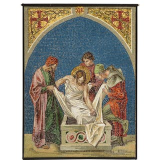 """A Fine and Large Italian Micromosaic Panel of """"Jesus Being Laid to Rest"""""""