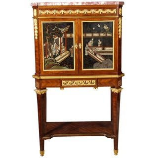 A French Ormolu-Mounted Mahogany, and Coromandel Lacquer Cabinet by