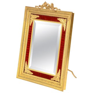Large Antique French Gilt Bronze Ormolu and Red Guilloche Enamel Table Mirror