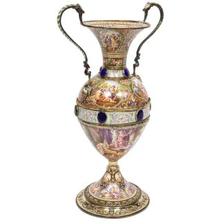 Extremely Large Austrian Silver and Viennese Enamel Twin Handled Vase, 1880