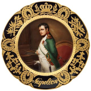 """Rare and Exceptional Royal Vienna Porcelain Plate of """"Napoleon"""" by Wagner"""