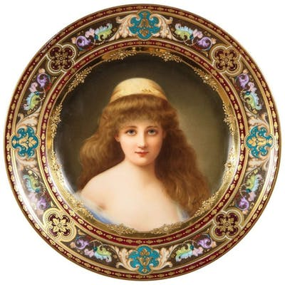 """A Rare and Exceptional Royal Vienna Porcelain Plate of """"Nadia"""" by Wagner"""