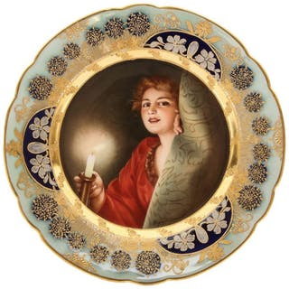 A Rare and Exceptional Art Nouveau Royal Vienna Porcelain Plate by Wagner