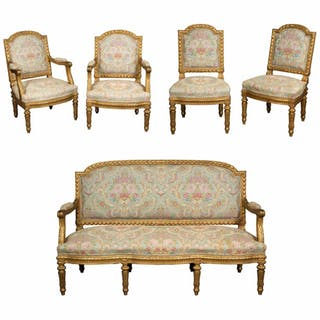 Exceptional French Louis XVI Style Five-Piece Gilt-wood Salon Suite Set