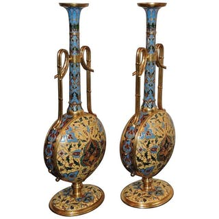 Extremely Rare Pair of Ferdinand Barbedienne Ormolu and Champleve Enamel Vases