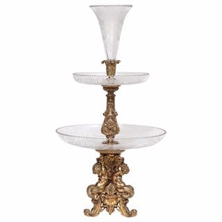 A Large French Silvered Bronze & Cut Crystal Allegorical Three-Tier Centerpiece