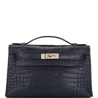 Hermès Mini Kelly Pochette of Bleu Indigo Matte Mississippiensis Alligator