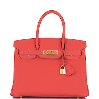 Hermès Geranium Birkin 30cm of Togo Leather with Gold Hardware