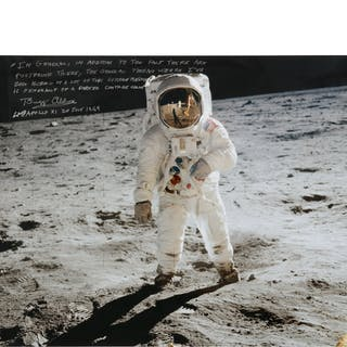 [APOLLO 11]. BUZZ ALDRIN AT TRANQUILITY BASE. LARGE COLOR PHOTOGRAPH