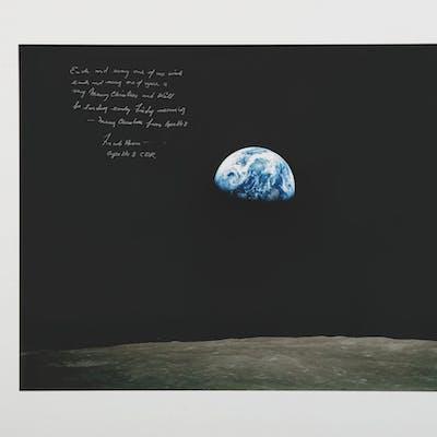 """[APOLLO 8]. EARTHRISE, """"A VERY MERRY CHRISTMAS"""". COLOR PHOTOGRAPH"""