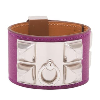 Hermès Anemone Collier de Chien (CDC) of Swift Leather with Palladium