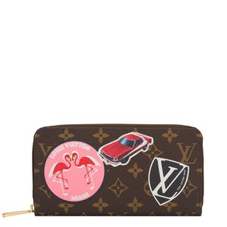 "Louis Vuitton Monogram ""World Tour"" Zippy Wallet of Coated Canvas"