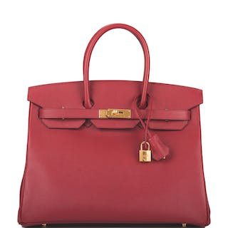 Hermès Rouge Grenat Birkin 35cm of Epsom Leather with Gold Hardware