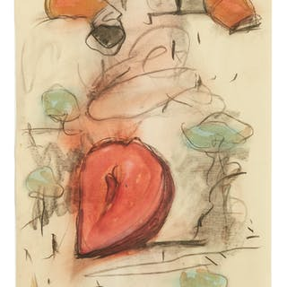 CLAES OLDENBURG   FAG ENDS AND COLOSSAL SLICED STRAWBERRY IN PARK SETTING