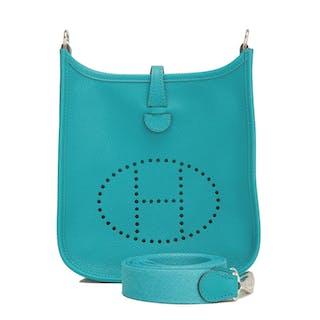 Hermès Bleu Paon Evelyne III TPM of Epsom Leather with Palladium Hardware