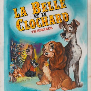 LADY AND THE TRAMP / LA BELLE ET LE CLOCHARD (1955) ORIGINAL ARTWORK, FRENCH