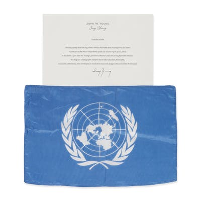 [APOLLO 16]. FLOWN ON APOLLO 16. LARGE UNITED NATIONS FLAG FROM THE
