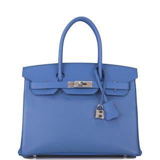 Hermès Bleu Brighton Birkin 30cm of Epsom Leather with Palladium Hardware