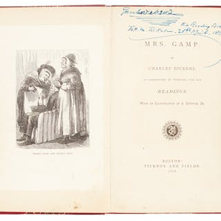 Dickens, Mrs. Gamp,1868, author's annotated reading copy, inscribed to Ticknor